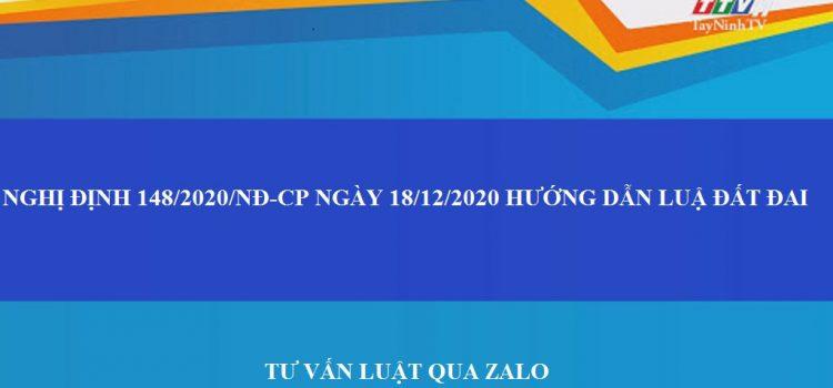 nghị định 148/2020/NĐ-CP hướng dẫn luật đất đai